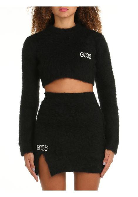 CROP SWEATER IN BLACK MOHAIR GCDS | Shirts | CC94W02110602