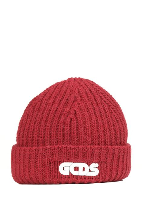 RED WOOL BLEND HAT WITH FRONT LOGO APPLICATION GCDS |  | FW22M01002603