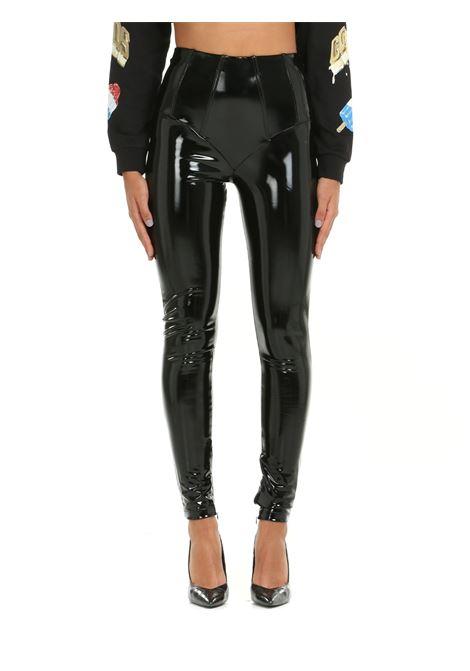 BLACK SHINY VINYL LEGGINGS GCDS | Leggings | FW22W03003302