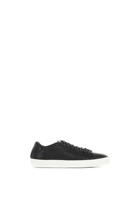 LOW BLACK SNEAKERS IN HAMMERED LEATHER LEATHER CROWN | Sneakers | MLC13620119NERO