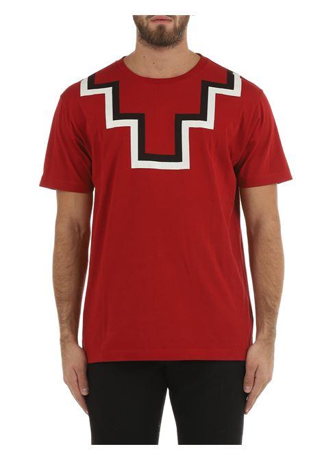 T-SHIRT CROSS IN COTONE ROSSA MARCELO BURLON | T-shirt | CMAA075F21JER0012704