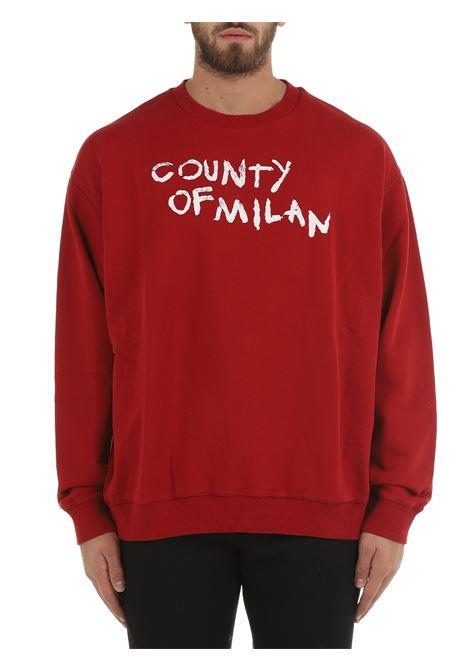 RED COTTON SWEATSHIRT WITH FRONT PRINT MARCELO BURLON | Sweatshirt | CMBA049F21FLE0032701