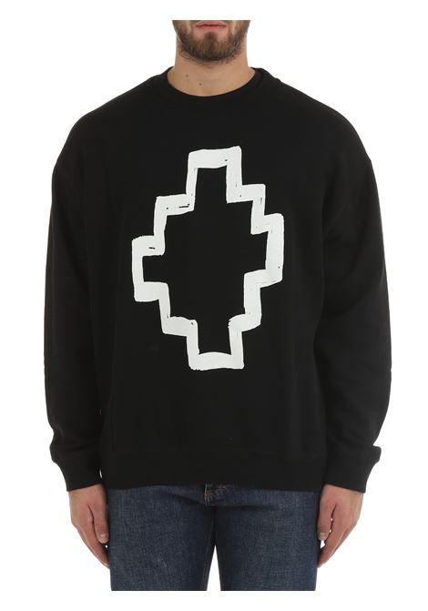 BLACK COTTON SWEATSHIRT WITH FRONT PRINT MARCELO BURLON | Sweatshirt | CMBA049F21FLE0041001