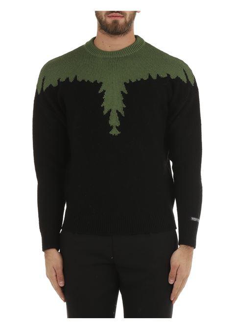 BLACK WOOL SWEATER WITH REGULAR WINGS INLAY MARCELO BURLON | Shirts | CMHE024F21KNI0011056