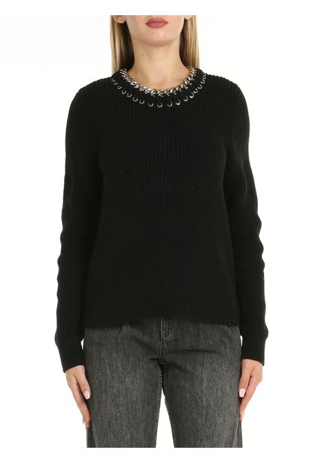 SWEATER IN BLACK COTTON WITH CHAIN MICHAEL DI MICHAEL KORS | Shirts | MS1600LDZD001BLACK