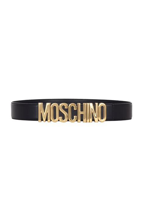 BLACK BELT WITH GOLD LOGO MOSCHINO | Belts | 80078001555