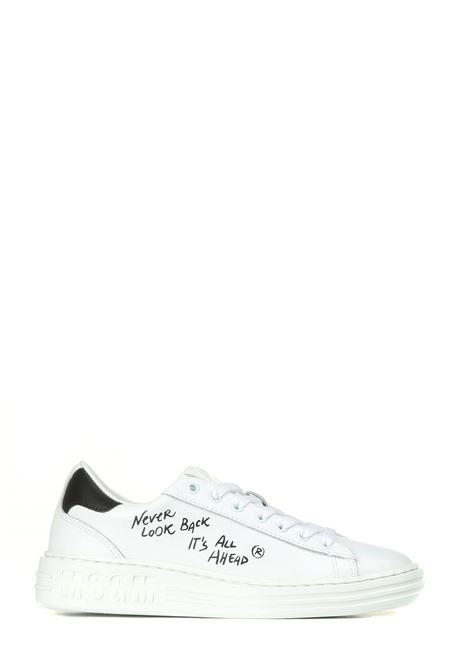 WHITE LEATHER SNEAKERS MSGM | Sneakers | 3141MDS50132399