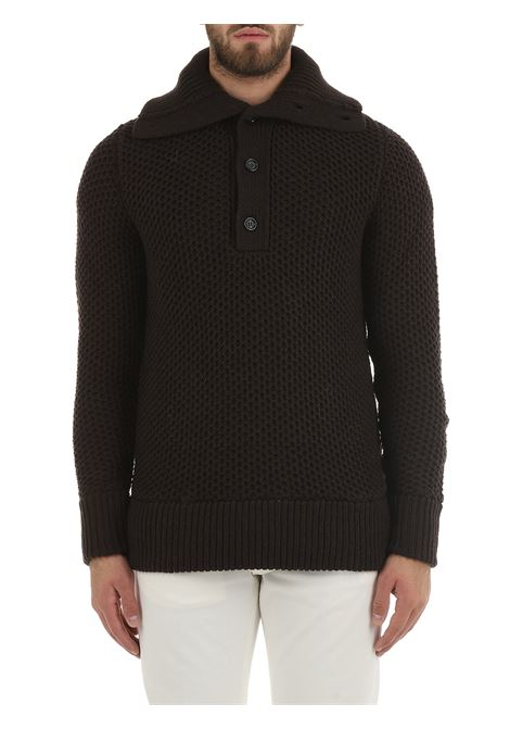 HIGH NECK BROWN SWEATER PAOLO PECORA | Shirts | A06071772318