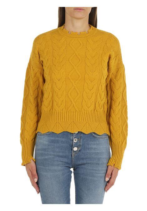 YELLOW SWEATER WITH MAXI BRAIDS PINKO | Shirts | CHIANTI 1G166WY79BH56