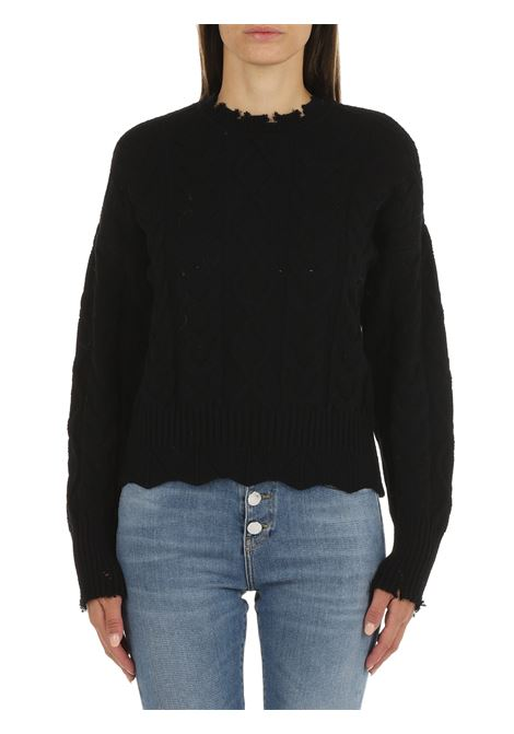 BLACK SWEATER WITH MAXI BRAIDS PINKO | Shirts | CHIANTI 1G166WY79BZ99