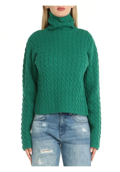 HIGH NECK SWEATER IN GREEN WOOL weili zheng | Shirts | WWZKC86EM1