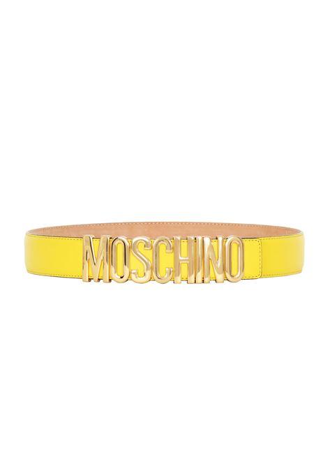 CINTURA IN PELLE MOSCHINO | Belts | 8007 CINTURA GRANDE CON LOGO ORO0032