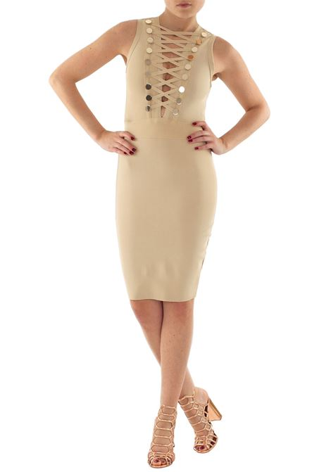 ELASTICIZED DRESS WOW COUTURE | Dress | K4894BEIGE