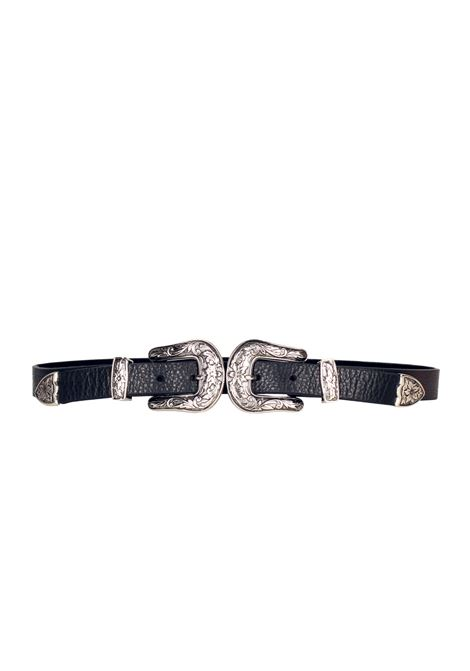 LEATHER BELT B-LOW THE BELT | Belt | BT041503BABYBRIBLACK/SILVER