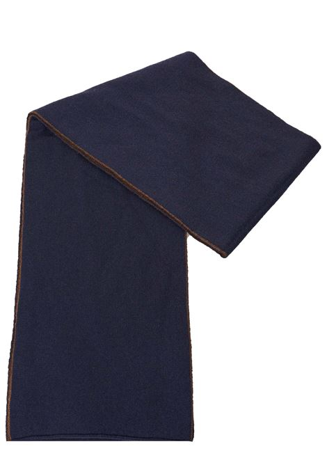 TWO-TONE BLUE AND BROWN CASHMERE SCARF KANGRA | Scarfs | 404724133