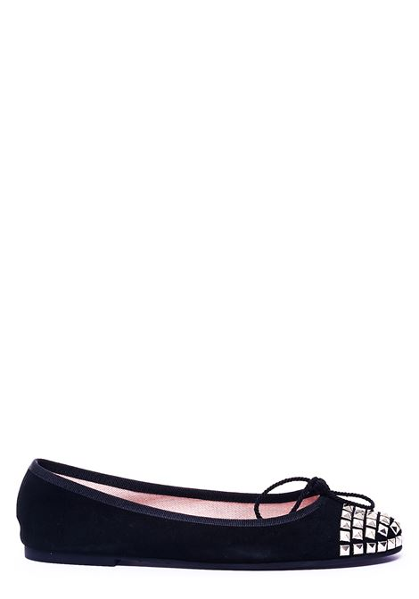 BLACK BALLERINA WITH FRONT APPLICATION PRETTY BALLERINAS | Ballerinas | 41181ANGELISTNERO