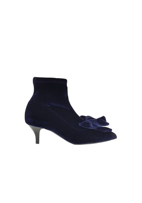 BLUE VELVET ANKLE BOOT WITH BOW ALBERTO GOZZI | Ankle Boots | REMI244BLU