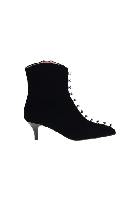 BLACK AND RHINESTONED VELVET ANKLE BOOTS ALBERTO GOZZI | Ankle Boots | ROSE244NERO