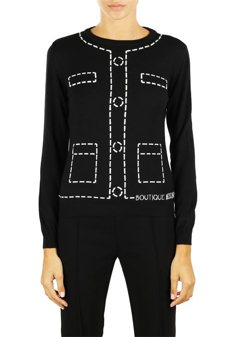 WOOL SWEATER WITH INTARSIO BOUTIQUE MOSCHINO   Sweaters   09315800A1555