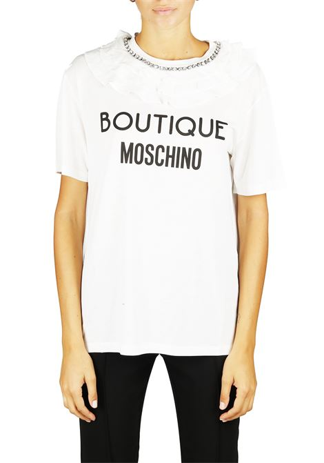 T-SHIRT CON ROUCHES E STAMPA BOUTIQUE MOSCHINO | T-shirt | 12075840A5002