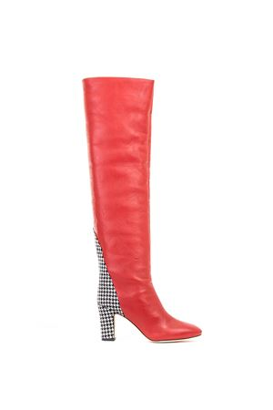 BOOTS IN NAPPA AND FANTASY PIED DE POULE GIA COUTURE | Boots | 4063-03A4ROSSO