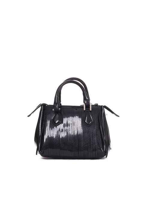 PVC BAG WITH FRINGES GUM | Bags | BS3679/18AIGLOSSYFRNERO