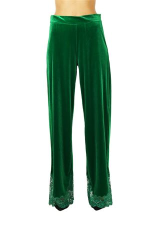 PANTS IN VELVET AND LACE L'EDITION | Pants | LE0677VERDE
