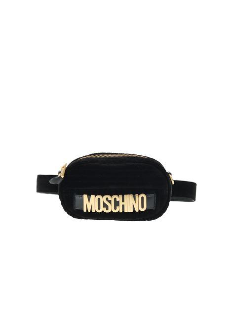 MARSUPIO IN VELLUTO TRAPUNTATO CON LOGO MOSCHINO | Marsupio | 771182111555