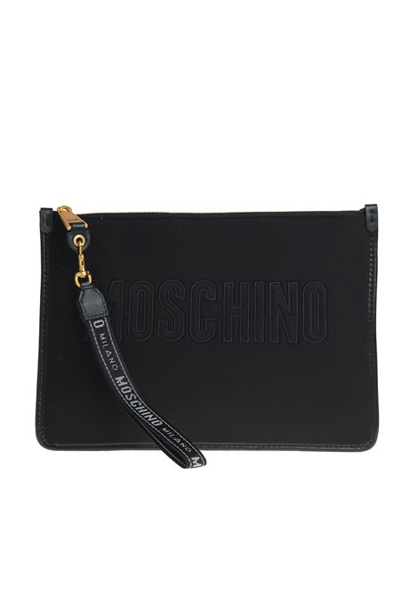 POCHETTE IN NEOPRENE WITH LOGO MOSCHINO | Clutches | 84028206B2555