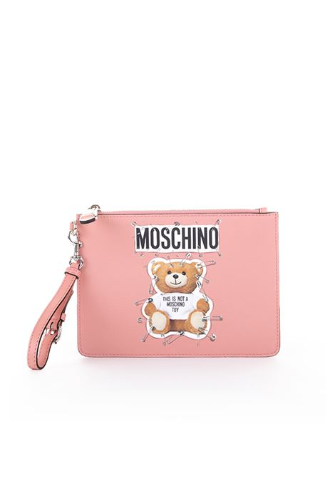 LEATHER POCHETTE '' SAFETY PIN TEDDY '' MOSCHINO | Clutches | A842182101147