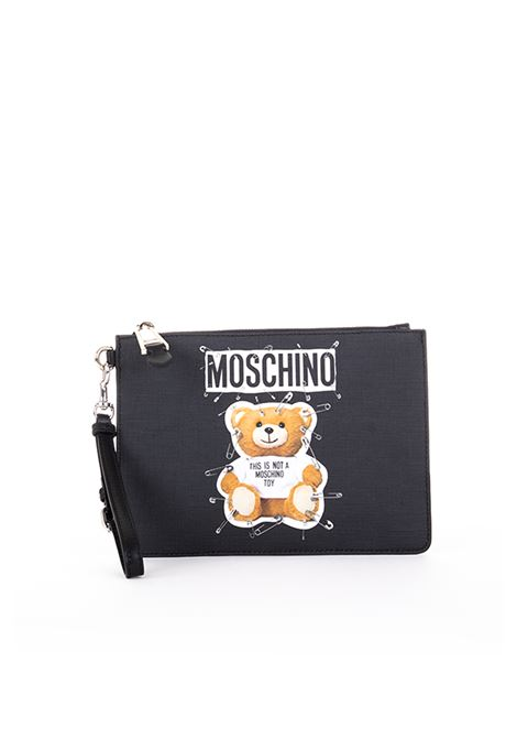 LEATHER POCHETTE '' SAFETY PIN TEDDY '' MOSCHINO | Clutches | A842182101555