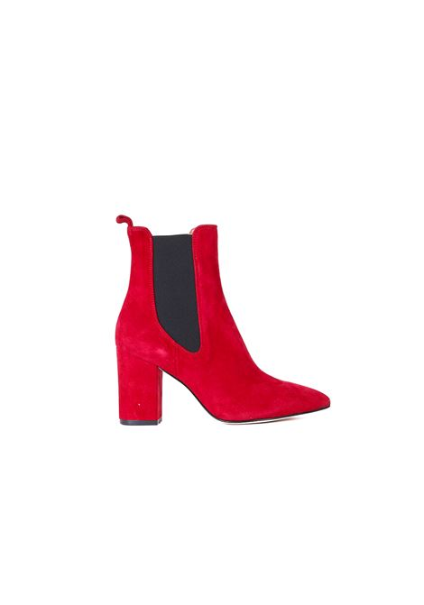LEATHER AND VELVET ANKLE BOOTS PARIS TEXAS | Ankle Boots | PX125ROSSO