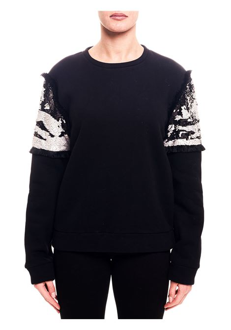 BLACK COTTON BLEND SWEATSHIRT WITH SEQUIN APPLICATION ON THE SLEEVES weili zheng | Sweatshirts | WWZFC15N01
