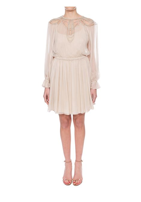 BEIGE CHIFFON CREPONNE DRESS WITH EMBROIDERY ALBERTA FERRETTI | Dress | 04031615A0045