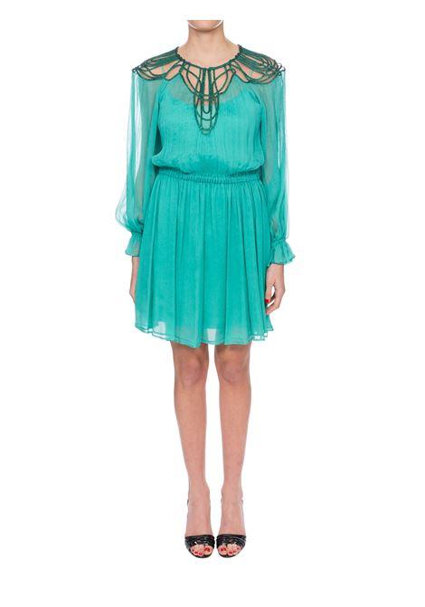 GREEN CHIFFON CREPONNE DRESS WITH EMBROIDERY ALBERTA FERRETTI | Dress | 04031615A0365