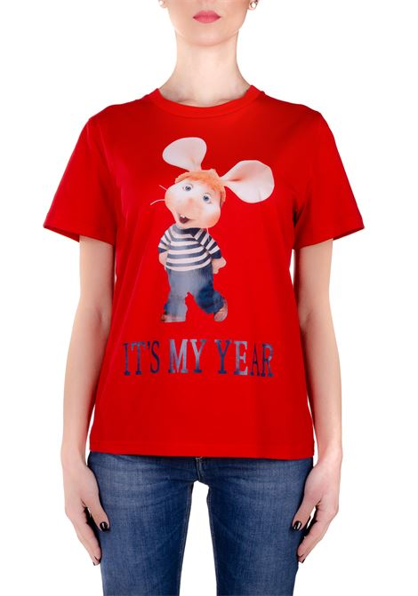 RED COTTON T-SHIRT WITH FRONT GIGO MOUSE PRINT ALBERTA FERRETTI | T-shirt | 0703172112