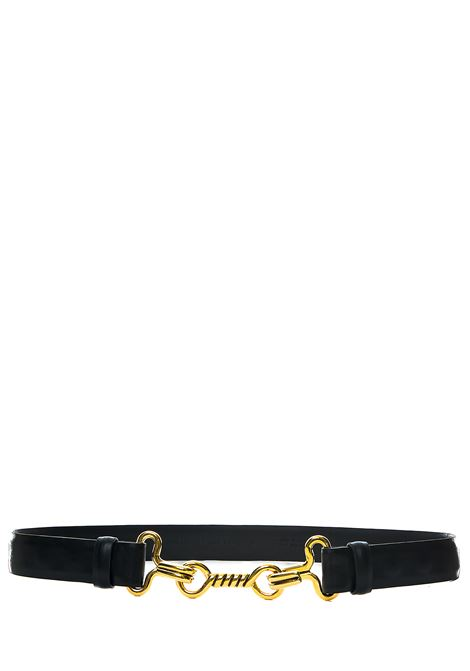 BLACK BELT IN MARINIERE DESIGN LEATHER ALBERTA FERRETTI | Belts | 30031693555