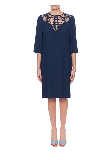 BLUE CREPE DRESS WITH EMBROIDERY ALBERTA FERRETTI | Dress | 54121618A0290