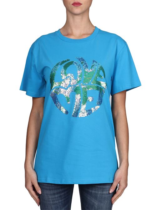 LIGHT BLUE T-SHIRT LOVE ME IN COTTON ALBERTA FERRETTI | T-shirt | J070316721317