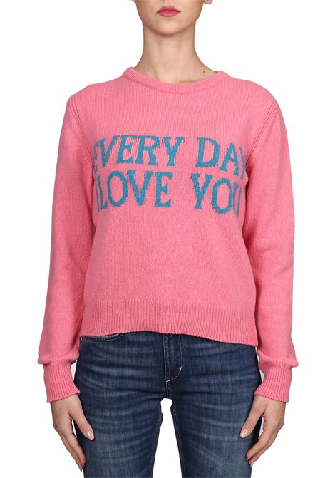PINK JERSEY WITH FRONTAL EMBROIDERY IN CASHMERE ALBERTA FERRETTI | Sweaters | J094216031206