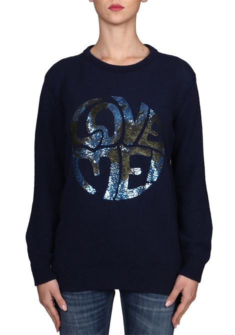 BLUE SWEATER WITH FRONTAL SEQUINS APPLICATION ALBERTA FERRETTI | Sweaters | J09551603290
