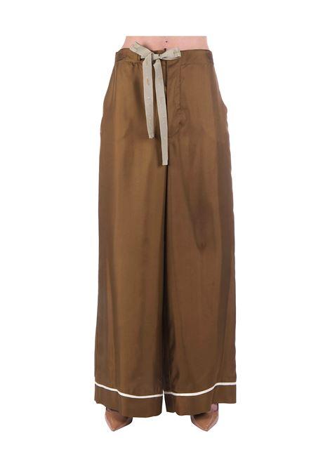 BROWN SOFT SILK TWILL PANTS ALYSI | Pants | 100147P0249OLIO
