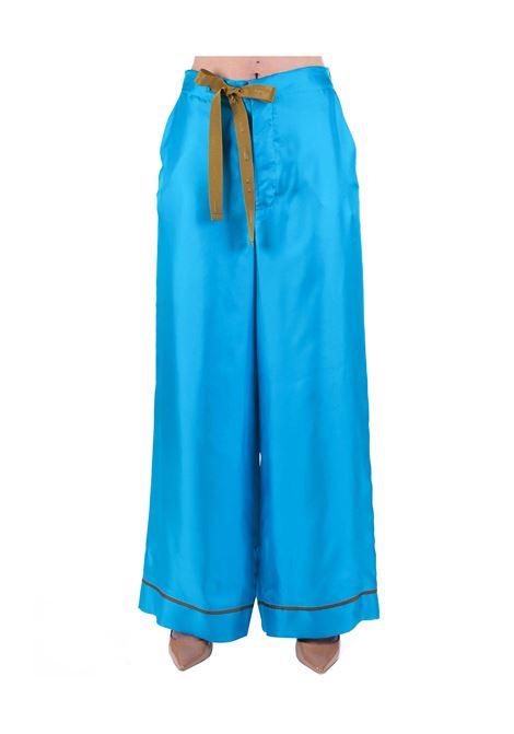 TURQUOISE SOFT SILK TWILL PANTS ALYSI | Pants | 100147P0249TURCHESE