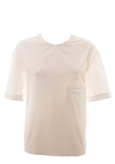 WHITE COTTON T-SHIRT WITH FRONT POCKET ALYSI | T-shirt | 100222P0042BIANCO