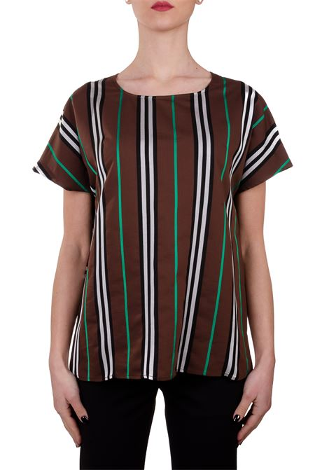 SUPER STRIPE BLOUSE WITH ROUND NECK ALYSI | Blouse | 100257P0044CIOCCOLATO