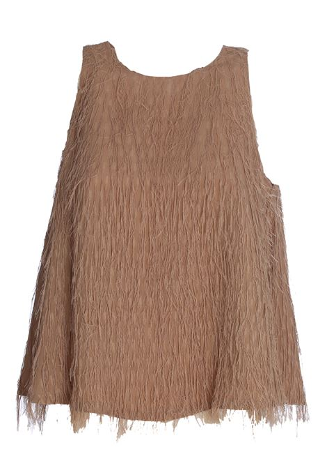 HONEY BEIGE TOP WITH FIL COUPE FRINGES ALYSI | Tops | 100258P0229MIELE