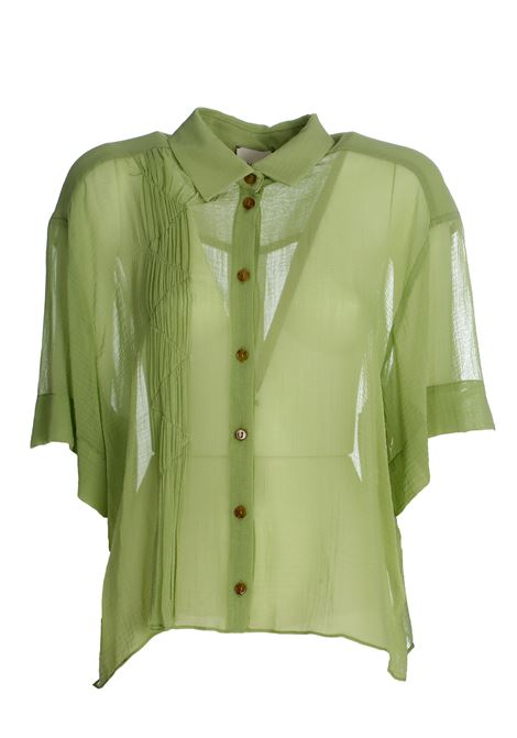 GREEN YUTA SHIRT IN CREPONNE ALYSI | Shirts | 100259P0240PIST
