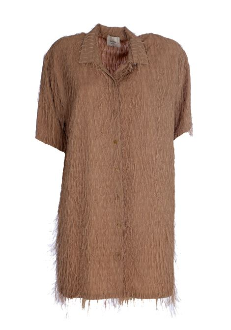 MAXI BEIGE SHIRT WITH FRINGES FIL COUPE ' ALYSI   Shirts   100291P0229MIELE