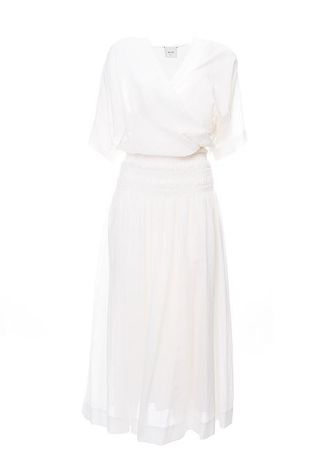 LONG WHITE DRESS IN MIXED COTTON AND STRIPED WASHED VOILE SILK ALYSI | Dress | 100328P0006BIANCO