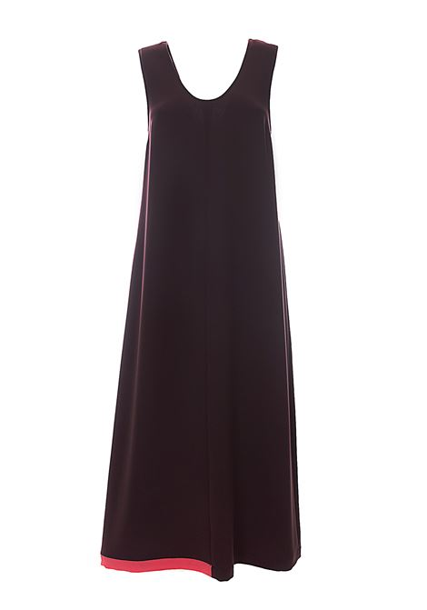 LONG BROWN FLUID CREPE DRESS WITH CONTRASTING BOTTOM ALYSI | Dress | 100330P0055MARRONE